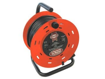 Open Drum Cable Reel 240V 13A 2-Socket 50m